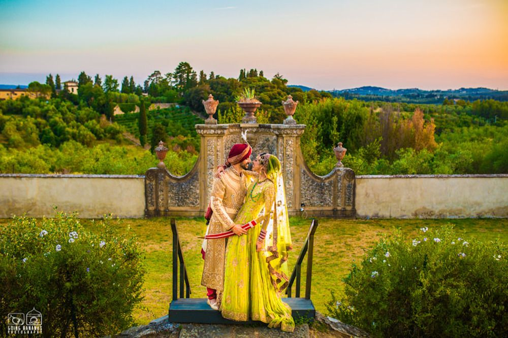 Photo of Wedding day couple shot in offbeat outfits