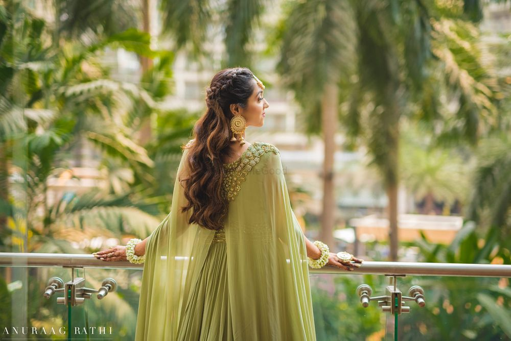 Photo of Cape lehenga for engagement in sage green