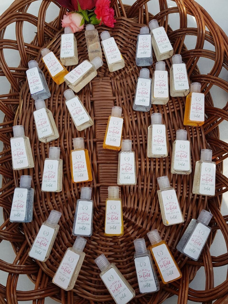 Photo of Hand sanitisers as favours for guests