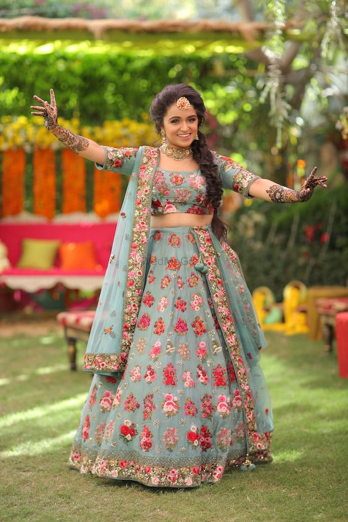 Photo of Slate blue mehendi lehenga with florals