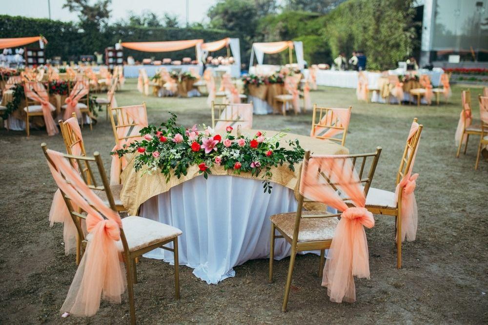 Peach Wedding Decor Photo