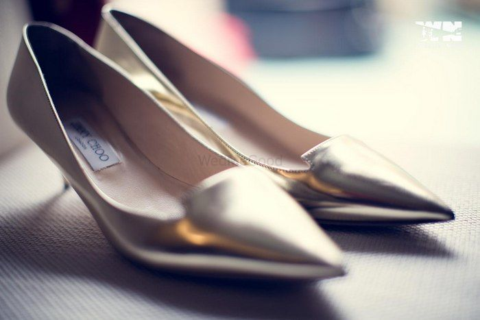 Photo of silver bridal shoes