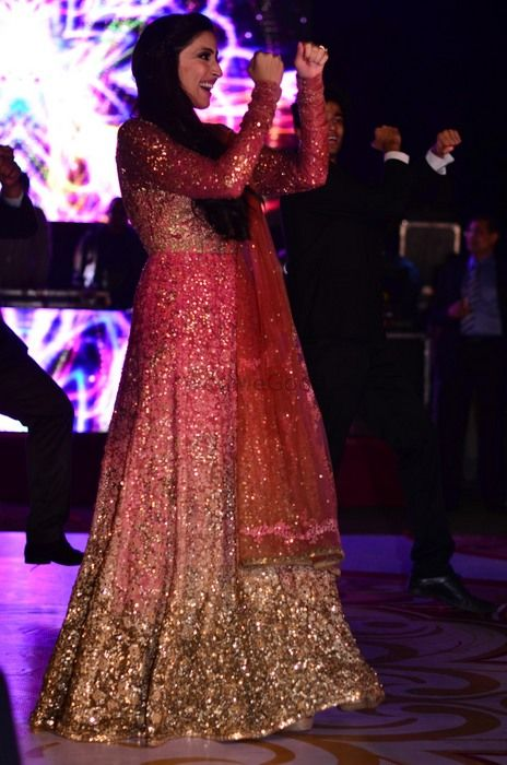 Photo of Gold and Pink Shaded Glitter Floor Length Anarkali
