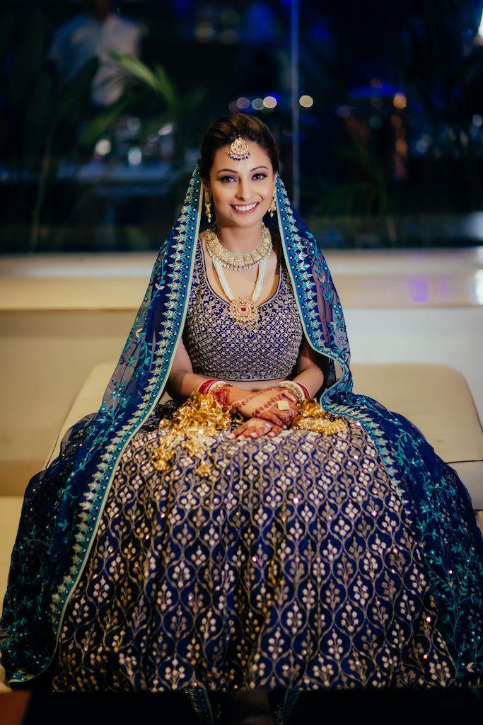 Photo of Offbeat blue Anita Dongre bridal lehenga