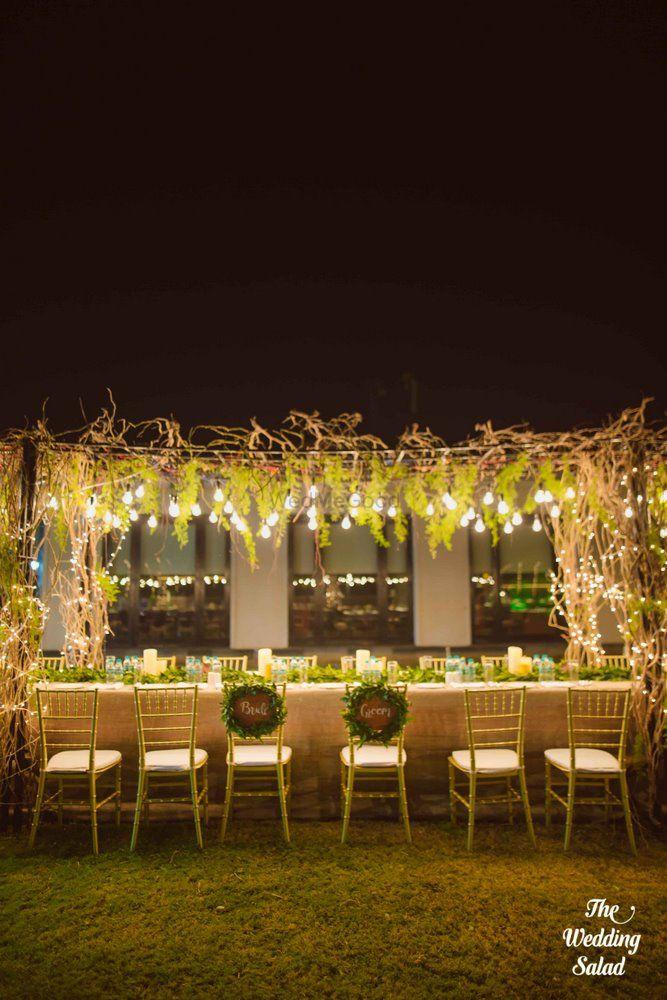 Photo of Wedding reception dinner setup