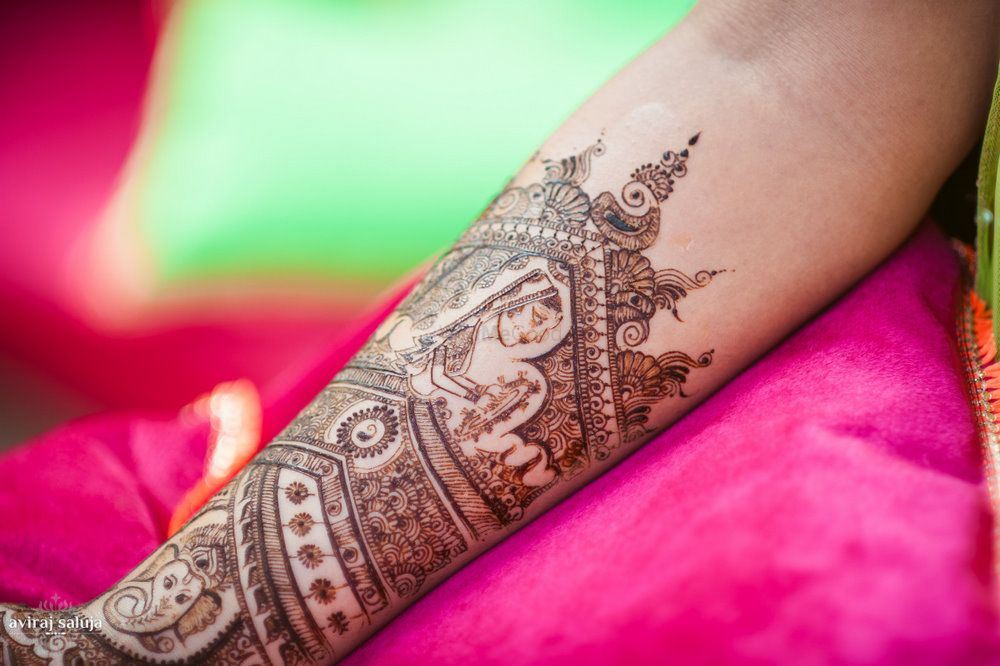 Photo of Mehendi design on arm with figures