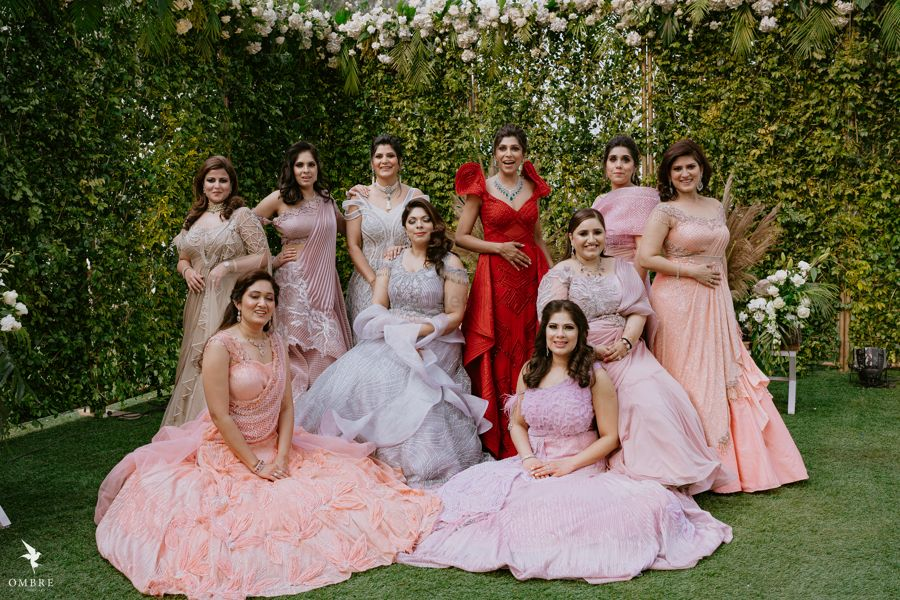 Photo of Bride with bridesmaids on reception