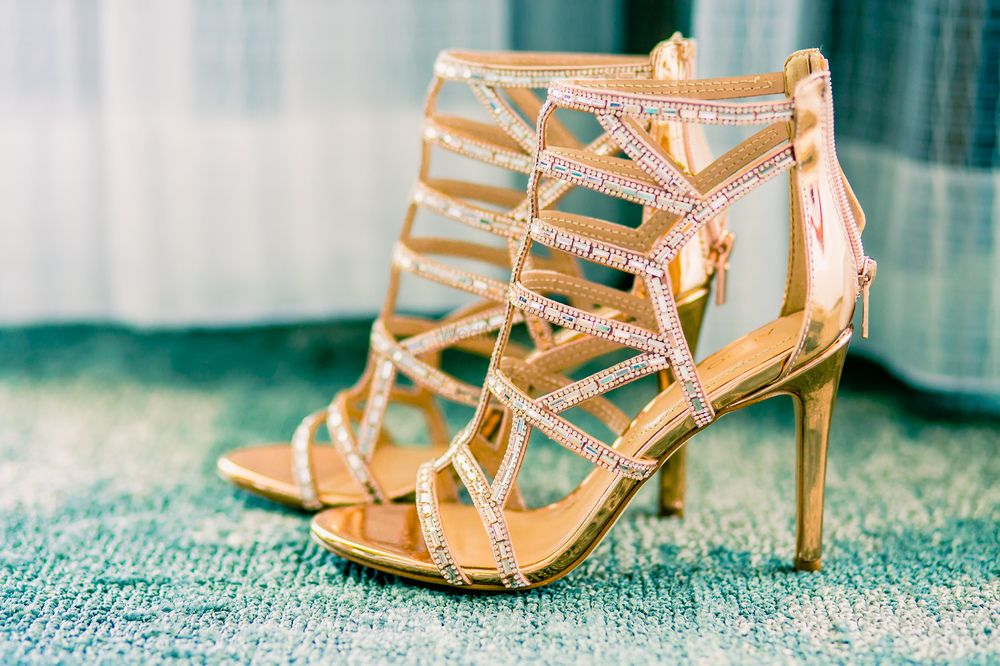Photo of Gold bridal heels with straps