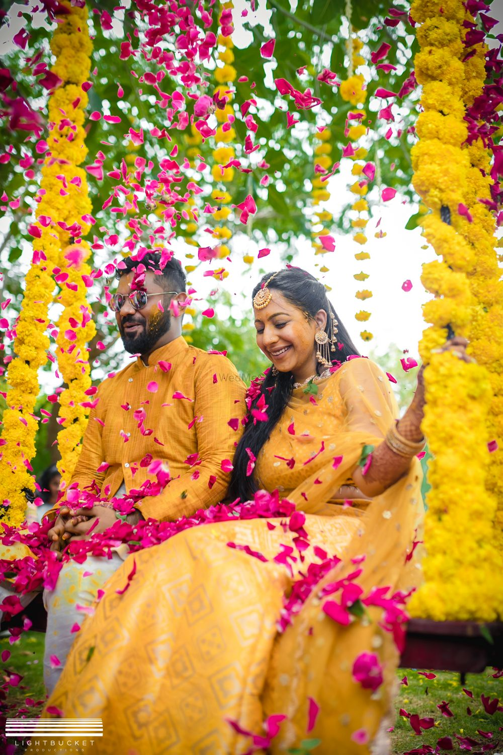 Photo of Matching bride and groom on haldi photo idea