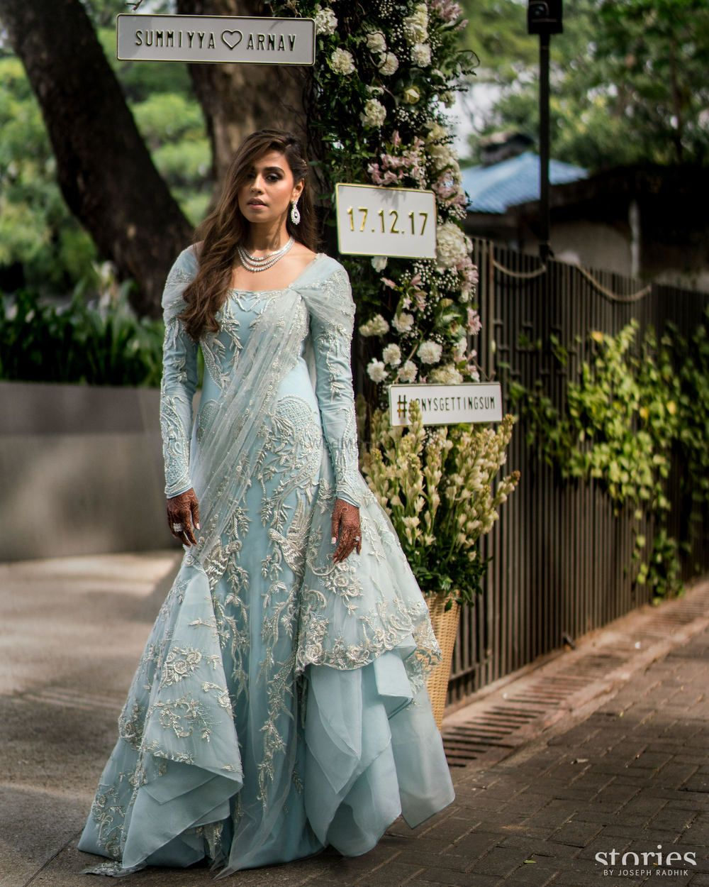 Photo of Offbeat wedding outfit light blue gown