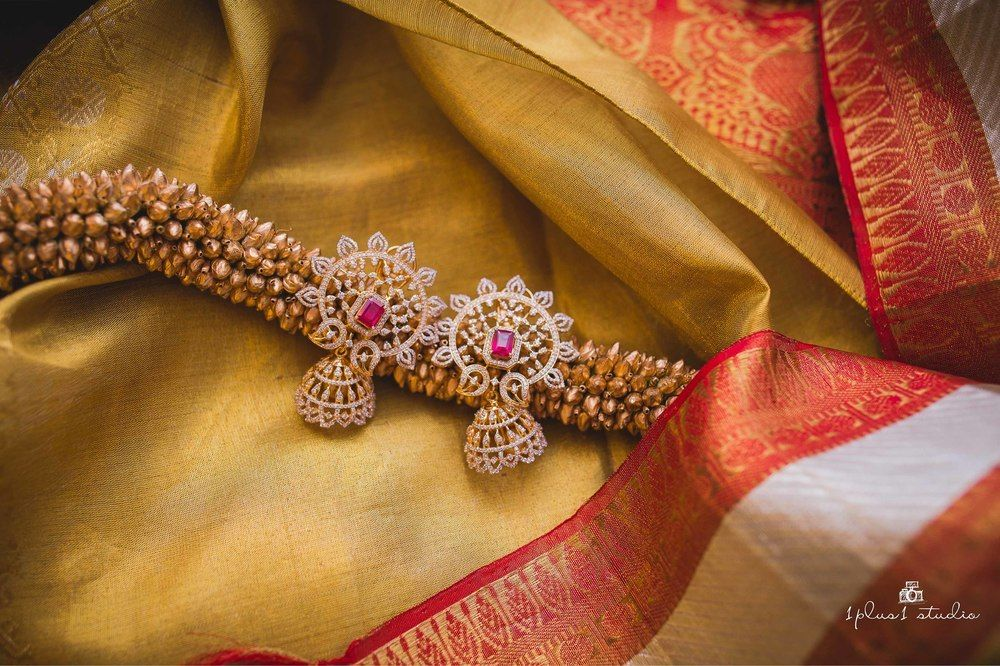 Photo of South Indian bridal jewellery with diamond earrings