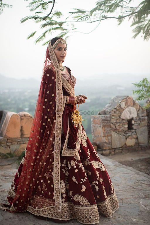 Photo of Maroon sabya bridal lehenga