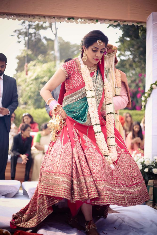 Photo of Day wedding Bridal Lehenga in Red and green