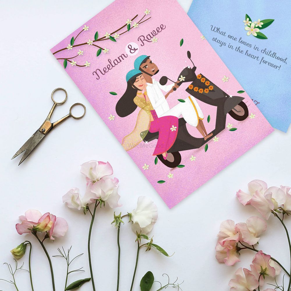 Photo of Quirky wedding invites with caricatures