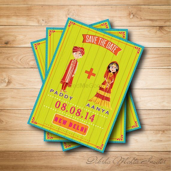 Photo of Yellow and Turqoise Doodle Save the Date Invites