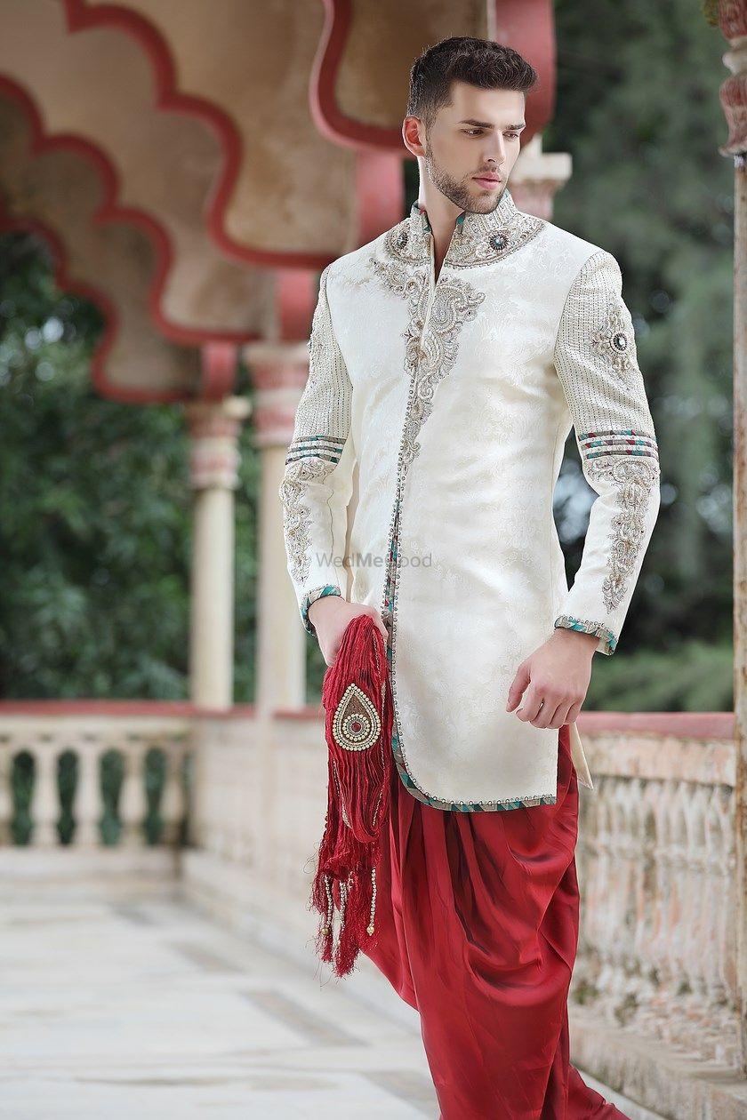 Photo of cream and maroon indo western dhoti pants
