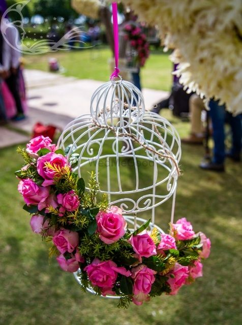 Photo of White birdcage with pink and green floral arrangement