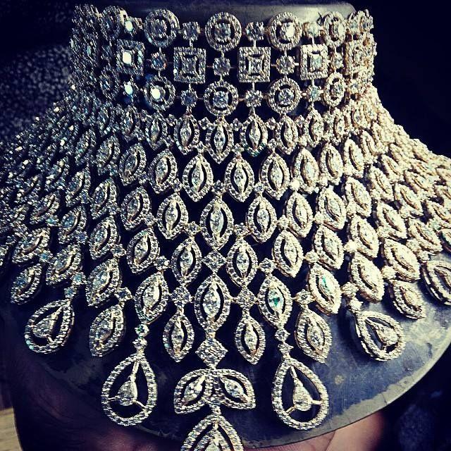 Photo of diamond studded statement choker necklace