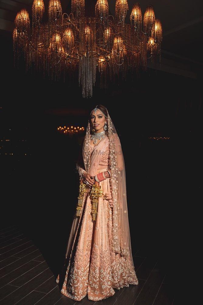 Photo of Pastel bridal lehenga in light peach