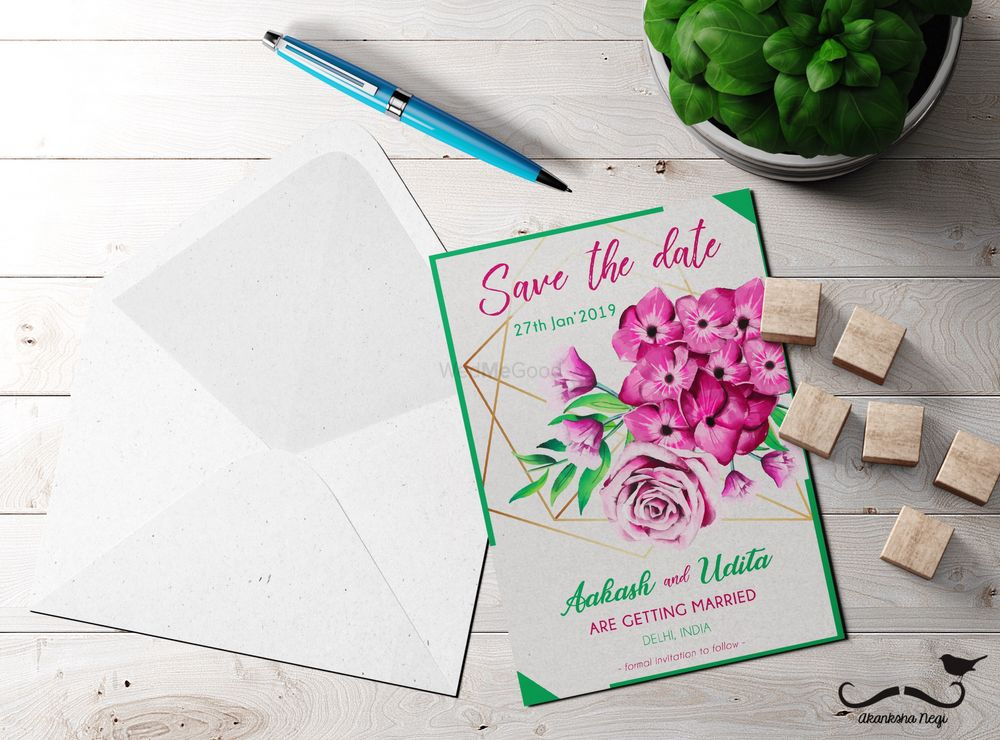 Photo of Floral modern save the date card