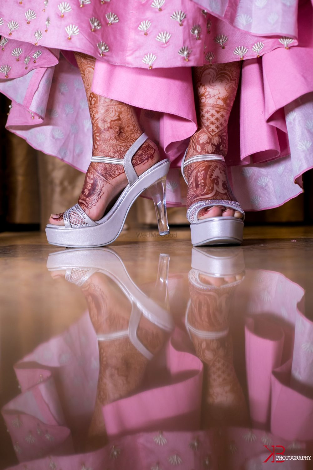 Photo of Silver bridal shoes with transparent heels