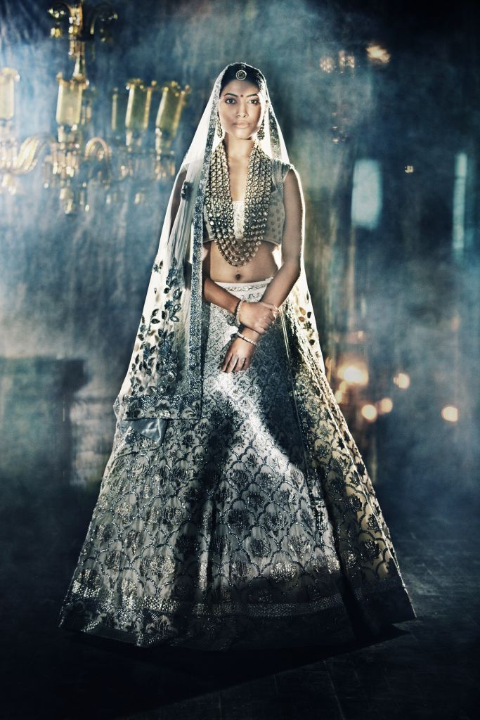 Photo of white and grey modern lehenga