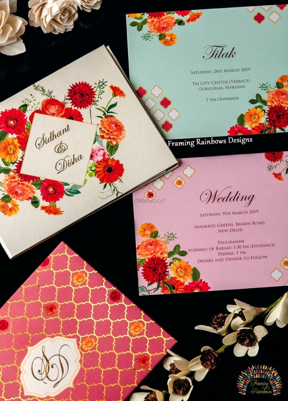 Photo of A colorful and kitsch, floral wedding invitation.