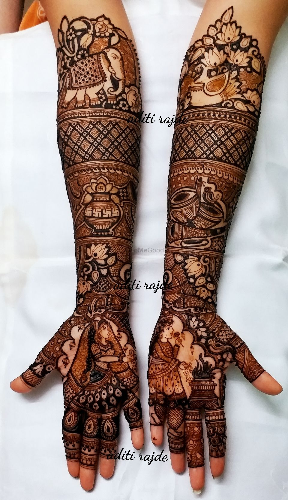 Photo of A wonderful traditional mehndi design with a bride & groom portrait.