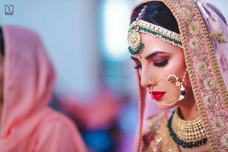 Photo of Shy bridal portrait looking down