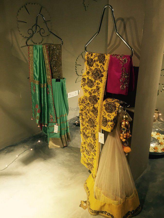 Photo of yellow lehenga saree