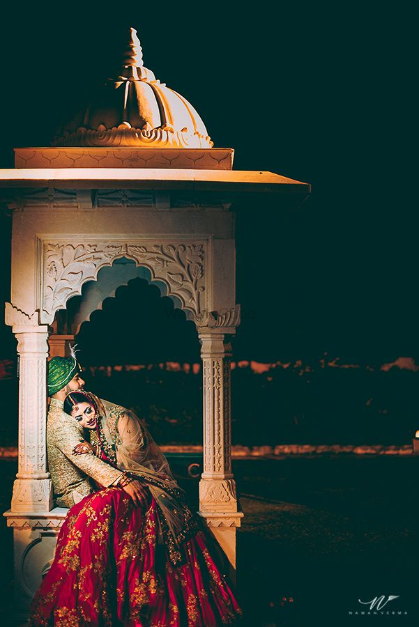 Photo of Destination palace wedding romantic couple portrait
