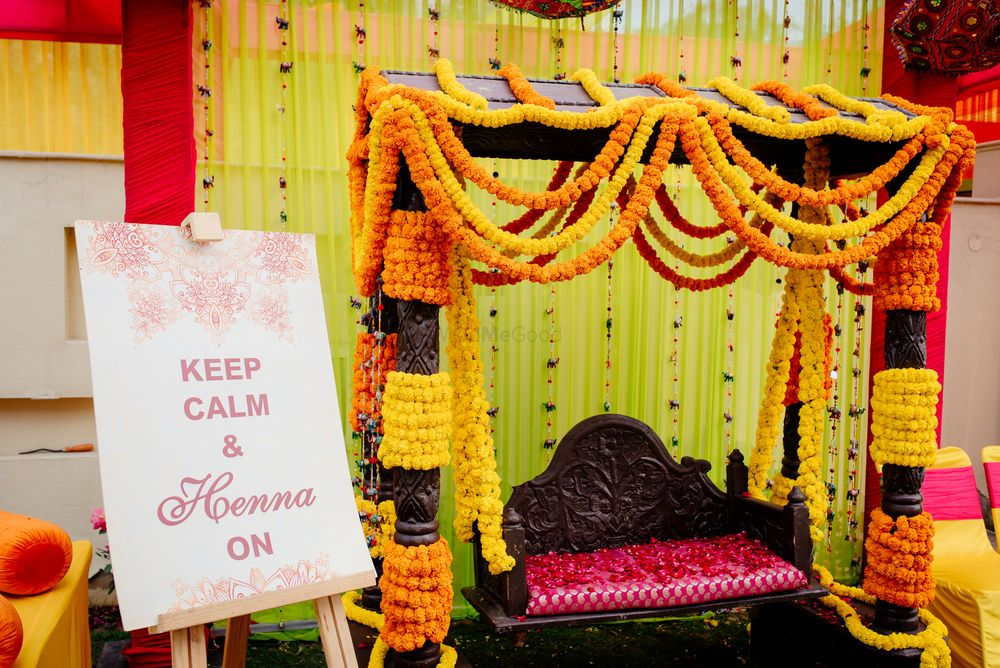 Photo of Floral swing with a fun message board