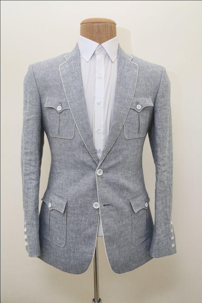 Photo of grey fleece flannel jacket suit
