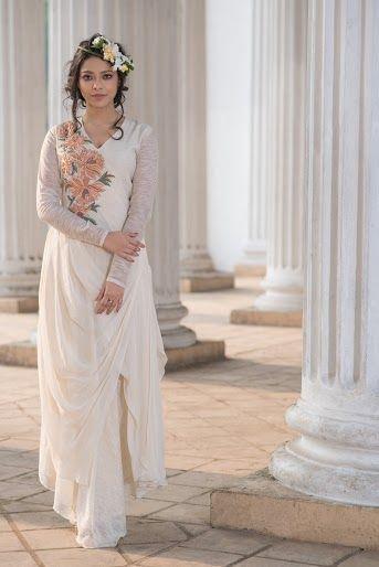 Photo of White drape indo western silhouette