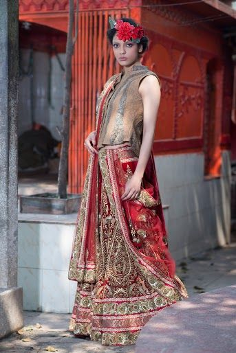 Photo of Deep red maroon velvet lehenga brida wear sleeveless