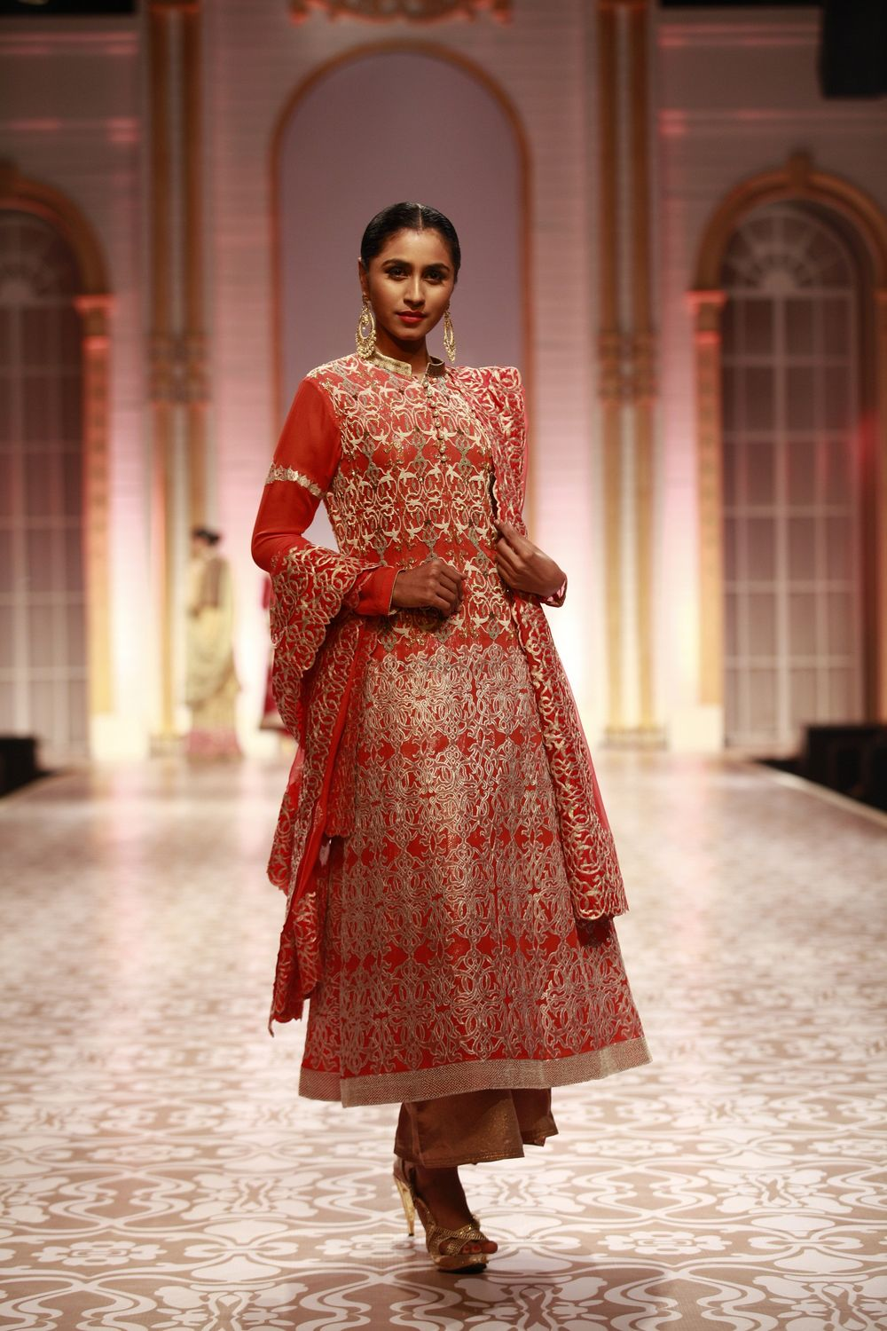 Photo of coral pink gota patti work anarkali jacket for mother of the bride outfits