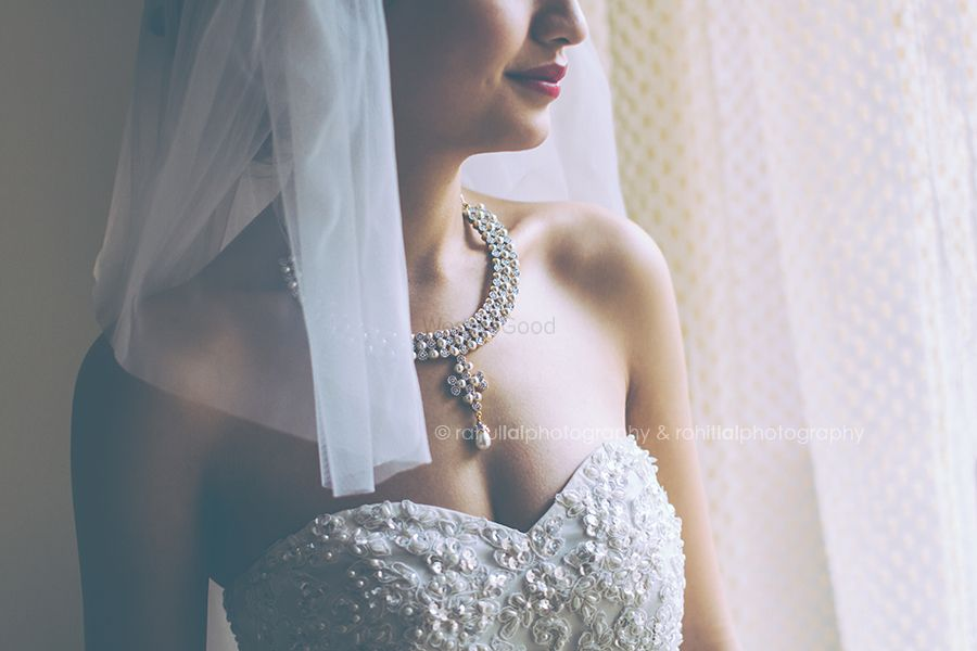 Photo of Diamond necklace with sweetheart neckline gown
