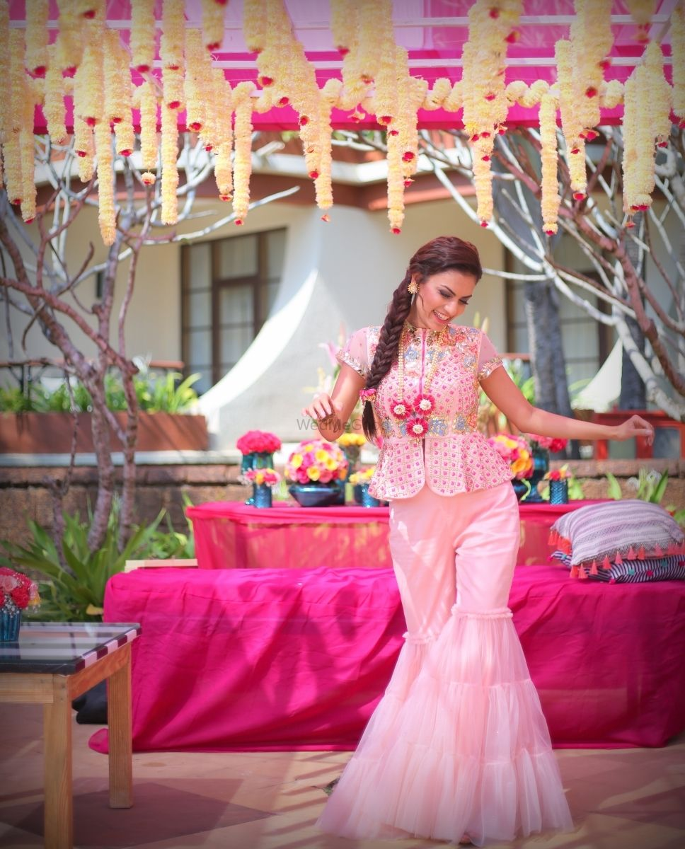 Photo of Light pink Indo western bridal outfit