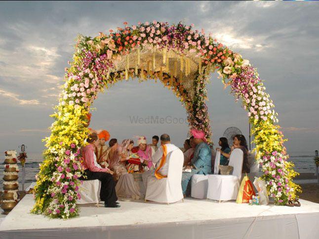 Photo of Floral beach side mandap decor