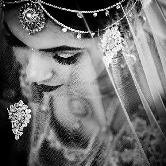 Photo of Wedding day bridal black and white portrait top shot