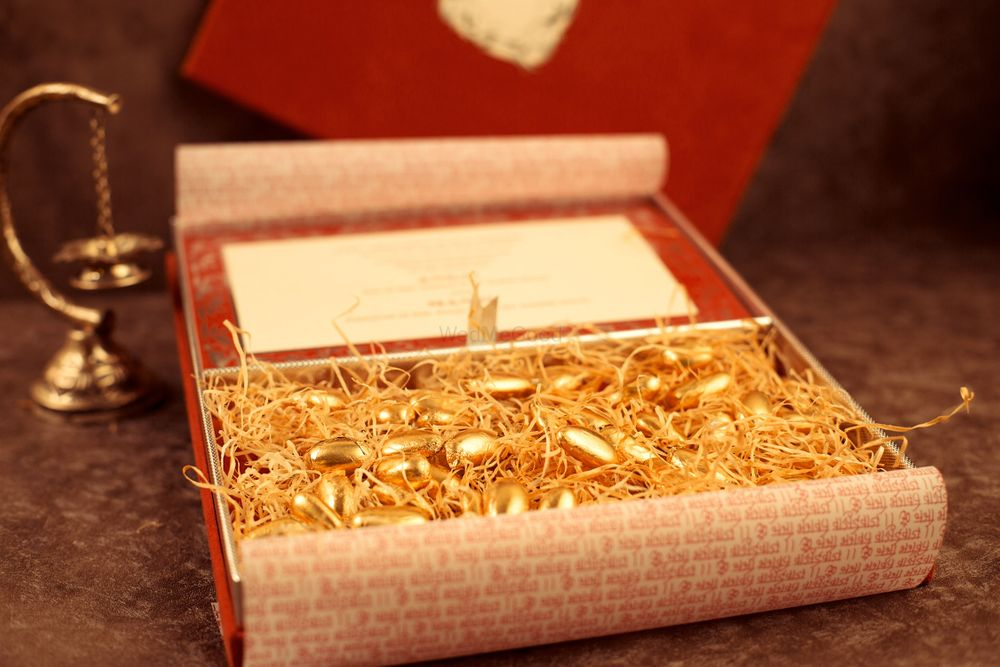 Gold Wedding Invitations Photo Gold coated almonds