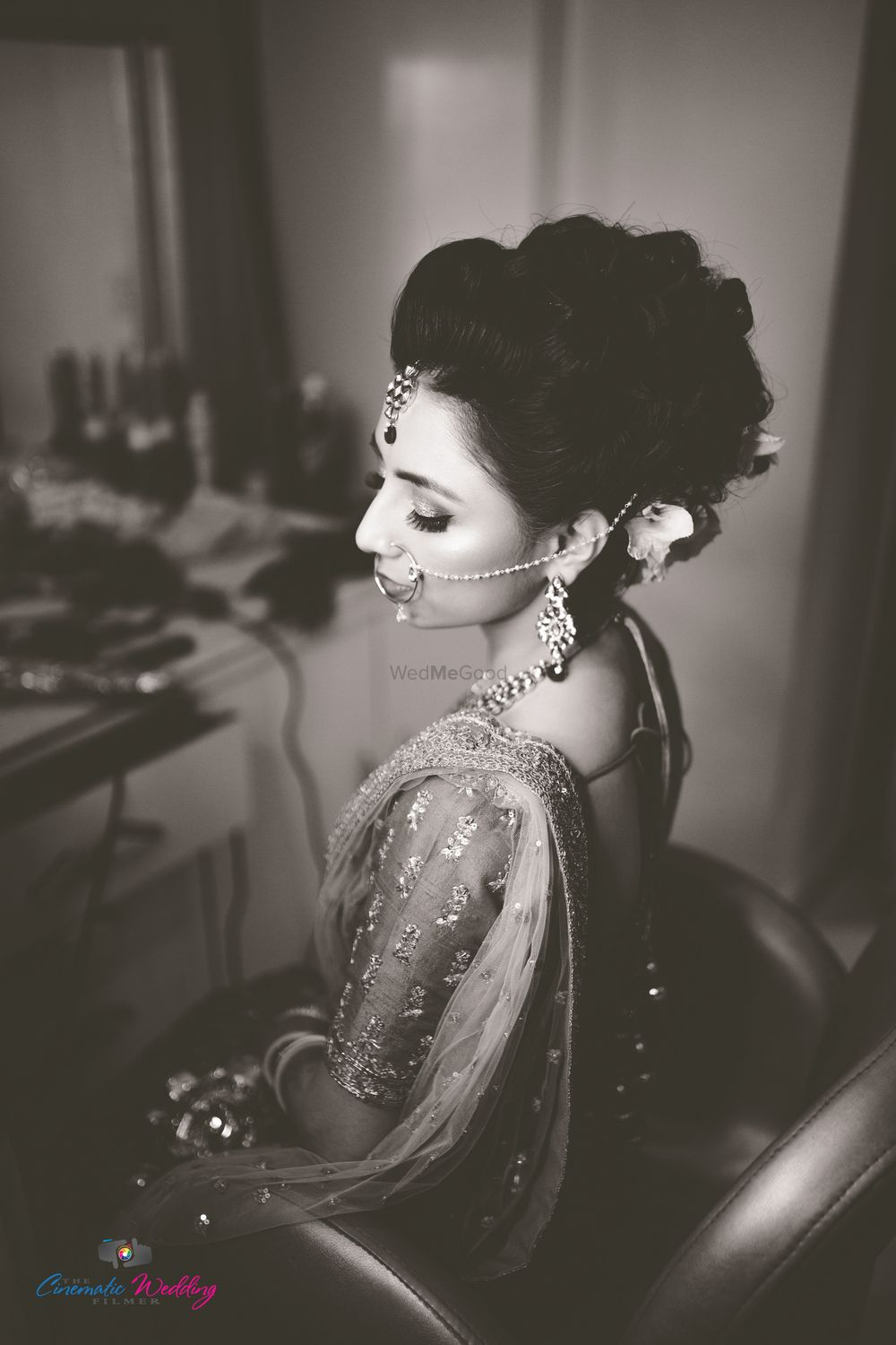Photo of Black and white timeless bridal portrait