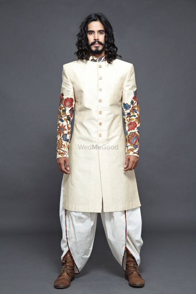 Photo of Off White Sherwani with Embroidered Sleeves and Dhoti