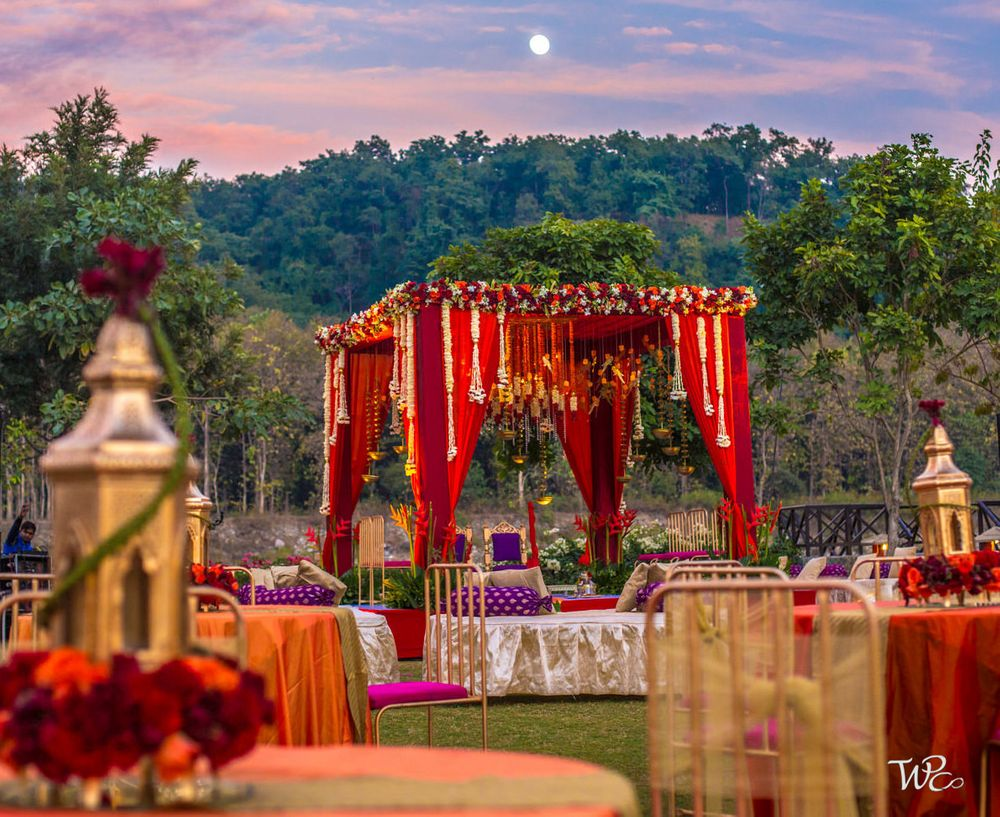 Photo of A four-side open mandap in the middle of the hills