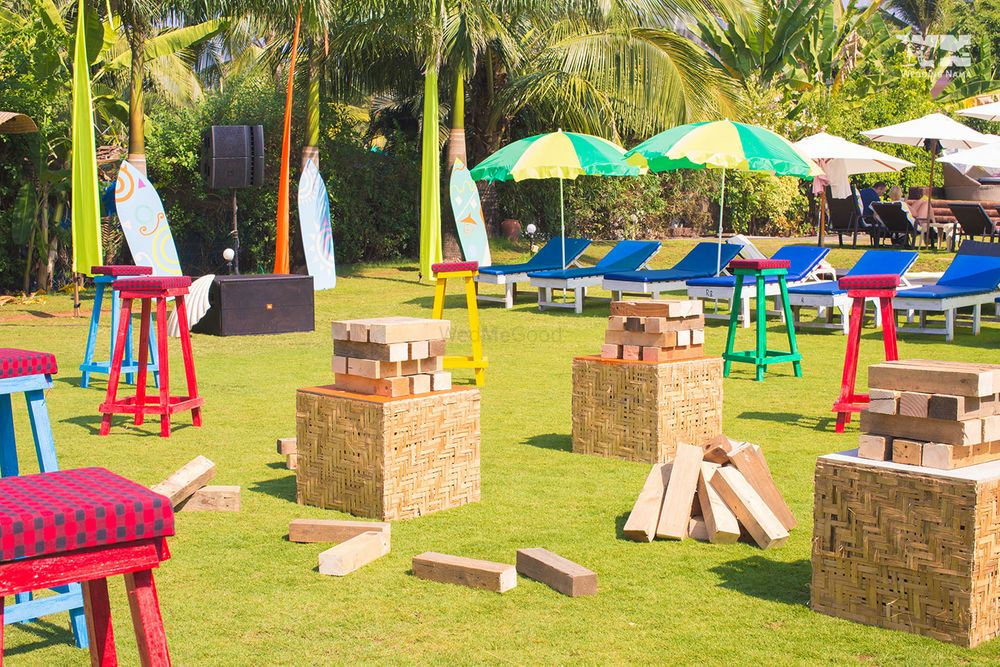 Photo of Fun activity giant jenga for destination weddings