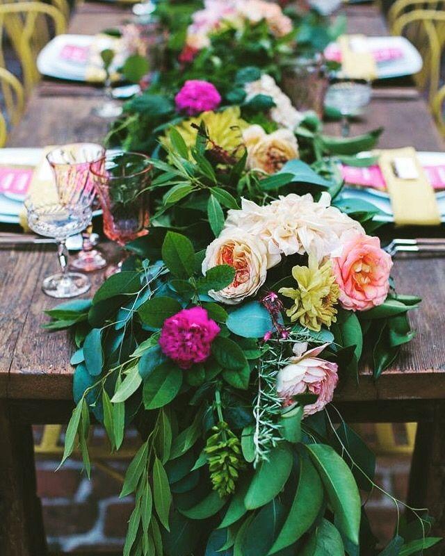 Photo of Floral table runner for brunch decor