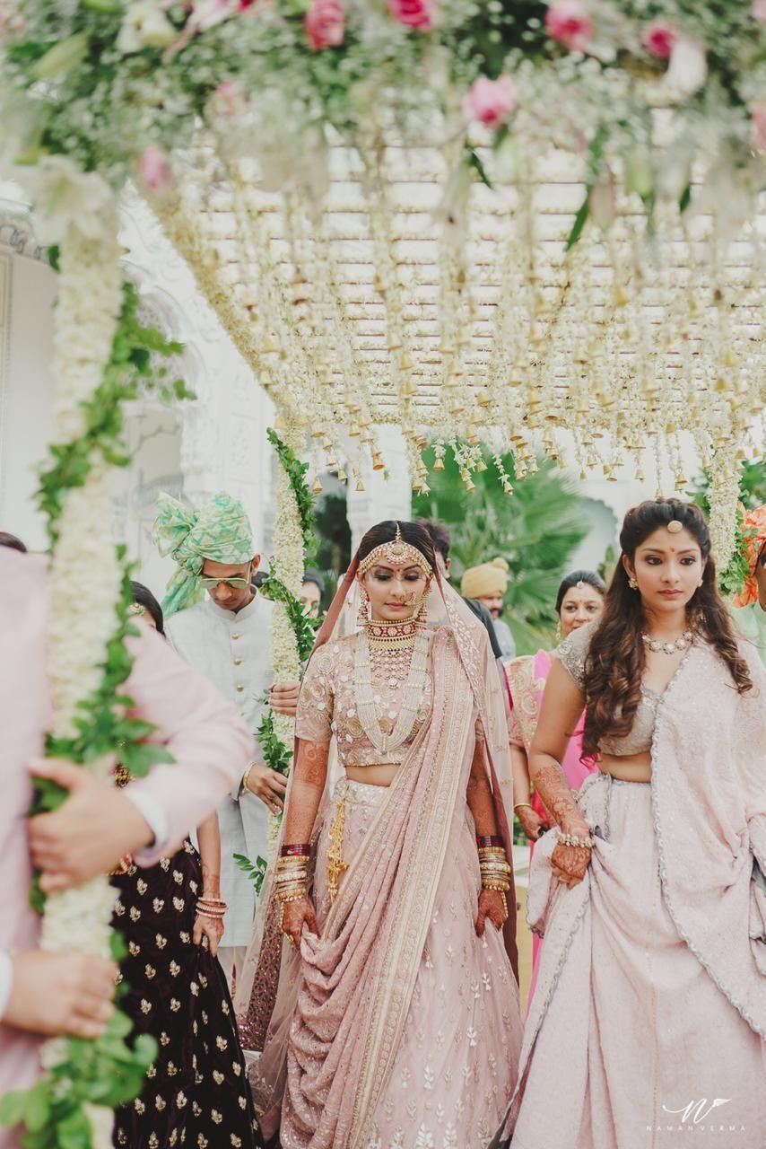 Photo of Morning wedding bride in pastel lehenga