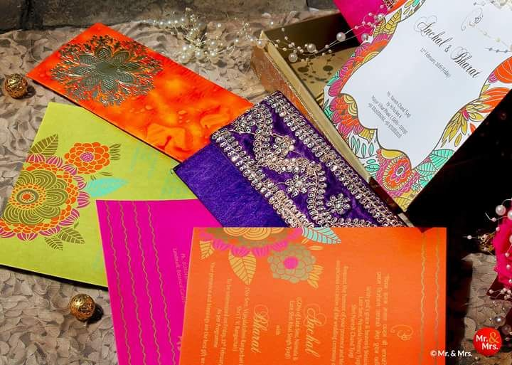 Photo of Orange and Purple Wedding Card