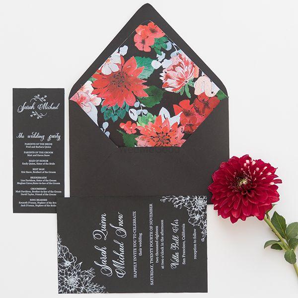 Photo of Modern floral print invites in black