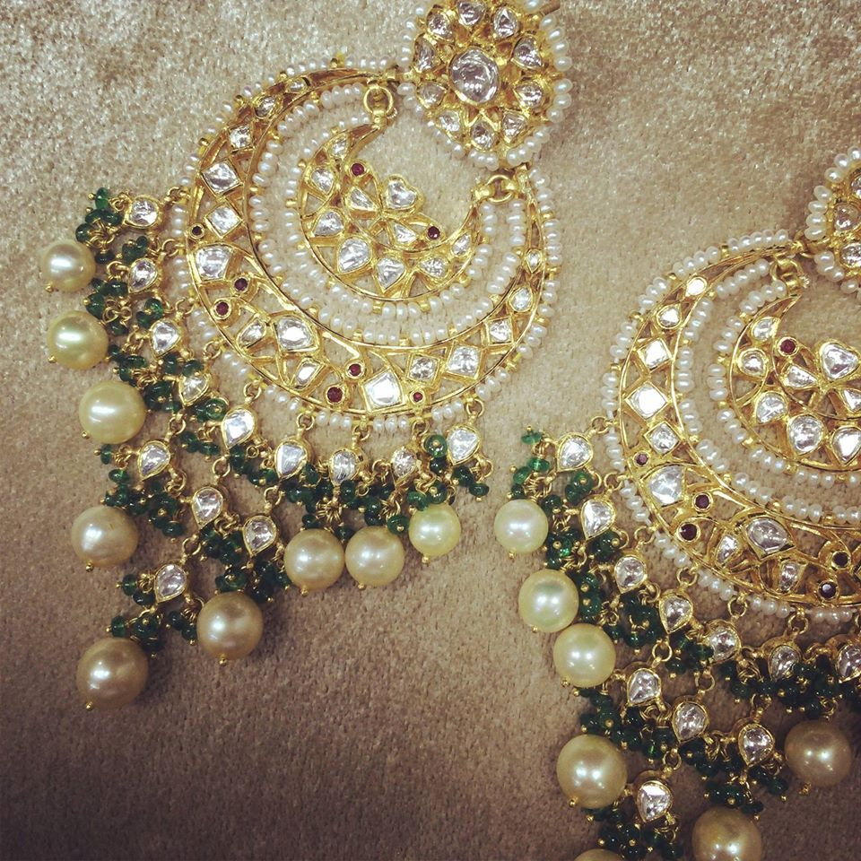 Photo of polki and pearl chaand baali earrings